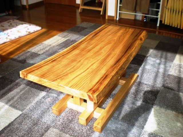 栗一枚板天板とサイドテーブル・酒卓兼用脚3