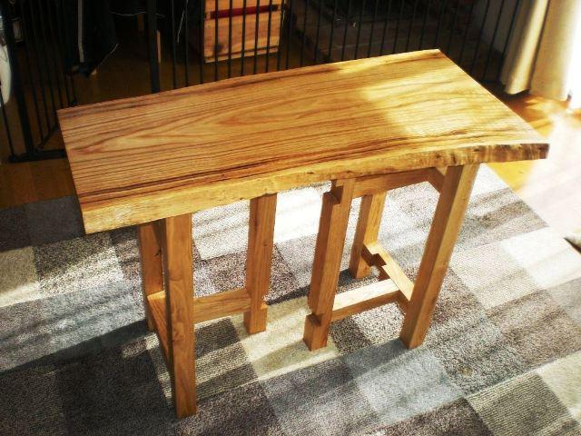 栗一枚板天板とサイドテーブル・酒卓兼用脚2