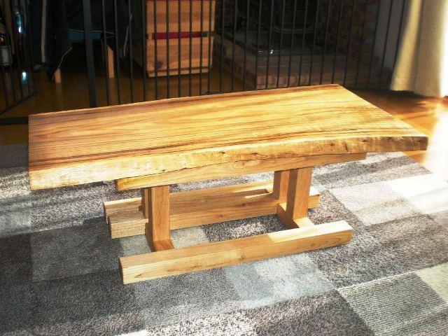 栗一枚板天板とサイドテーブル・酒卓兼用脚4