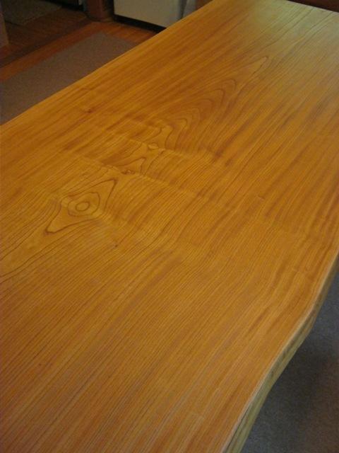 欅一枚板ダイニングテーブル(くさび留め耳付き板脚)3