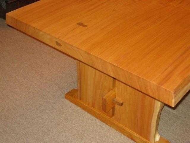 欅一枚板ダイニングテーブル(くさび留め耳付き板脚)8