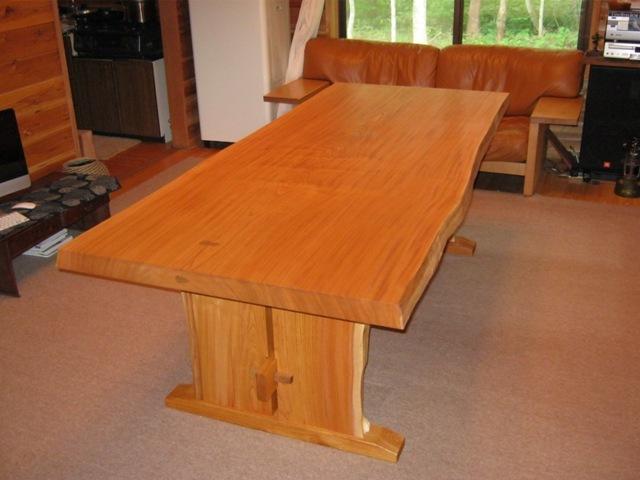 欅一枚板ダイニングテーブル(くさび留め耳付き板脚)9