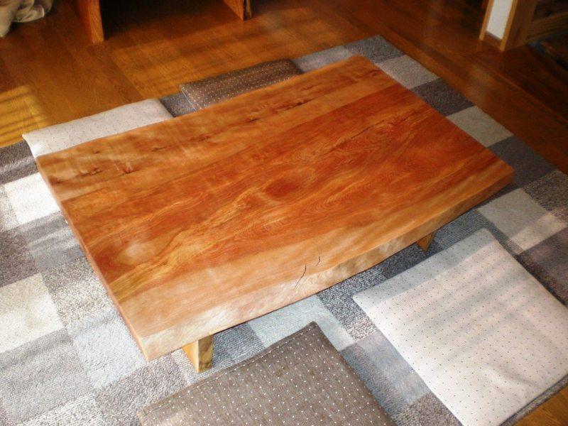 水目桜一枚板座卓1