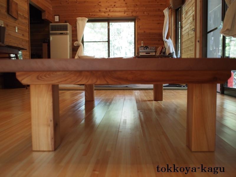 千葉県青柳様の欅広幅一枚板座卓6