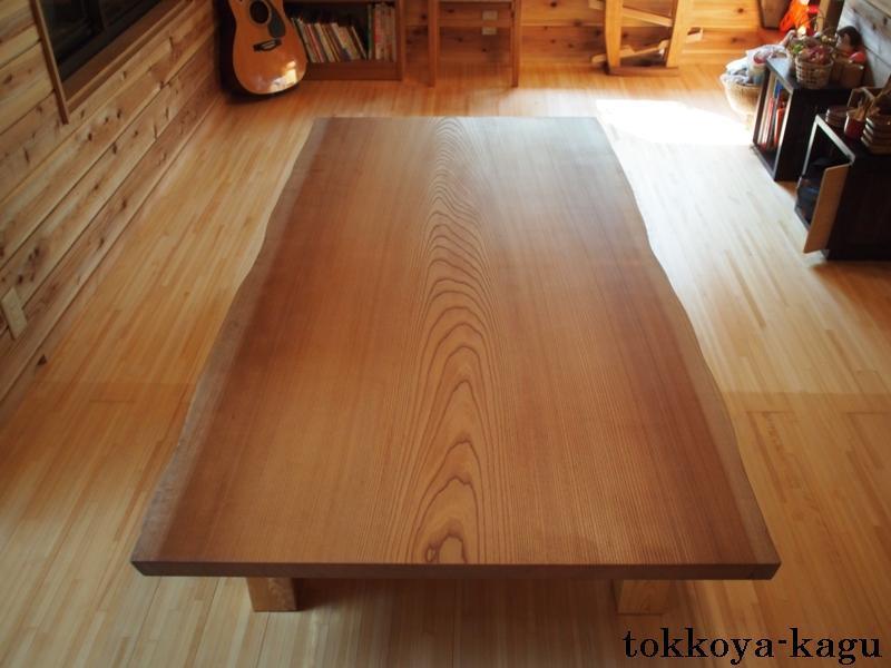 千葉県青柳様の欅広幅一枚板座卓7