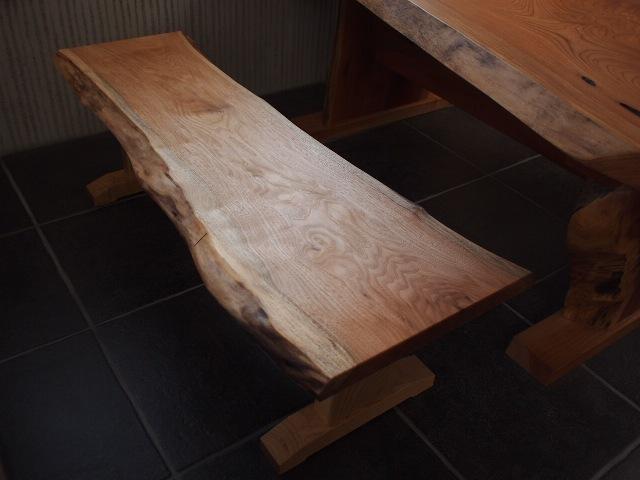 胡桃一枚板のベンチ