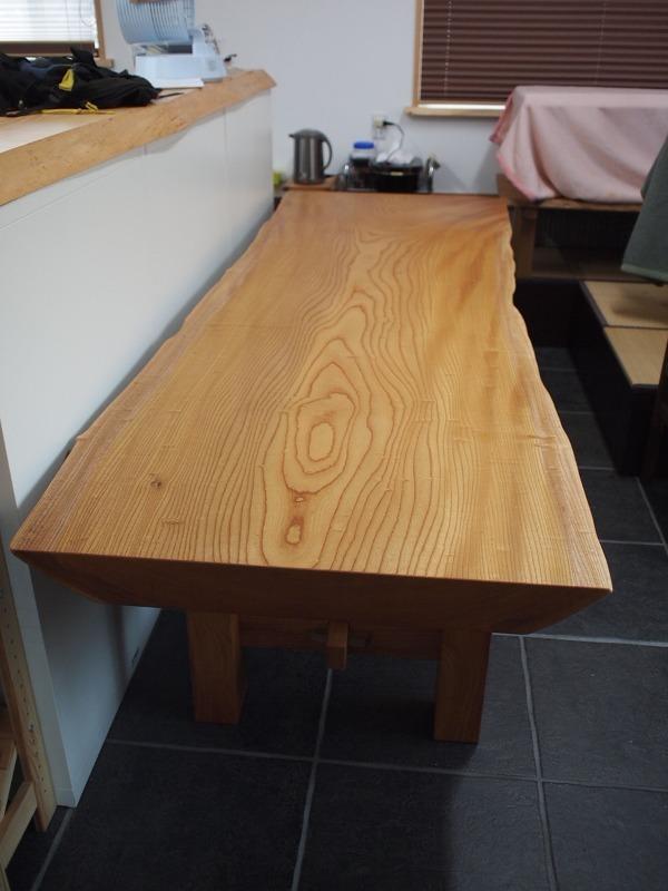 欅玉杢一枚板ロングテーブル4