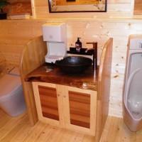 お客様の作品 ログハウスのトイレ洗面台(ブラックウォルナット一枚板)