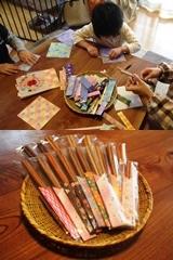 天然木箸梱包作業の様子