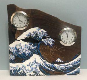 お客様のDIY作品「槐(エンジュ)一枚板の置き時計」~神奈川県・宮内様~1