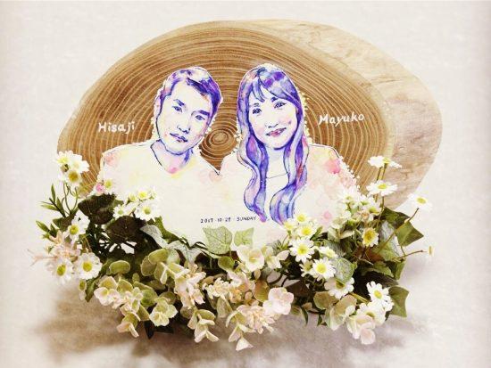 結婚式のウェルカムボード(エンジュ丸太切株輪切り一枚板)20171116-1