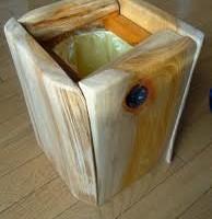 お客様の作品 欅耳付板のゴミ箱