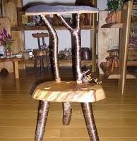 お客様の作品 栗輪切り材を使った小さな椅子