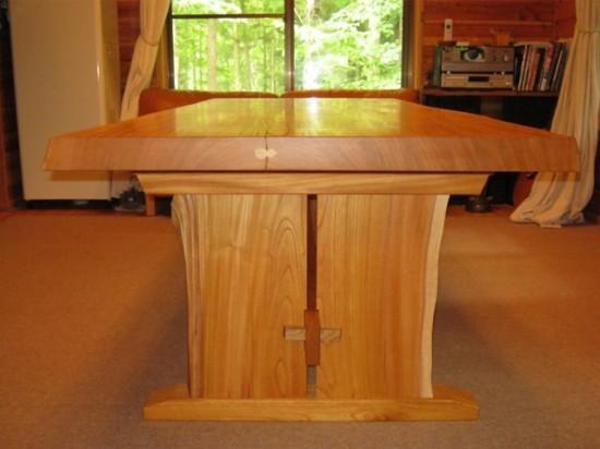 欅広幅一枚板ダイニングテーブル2