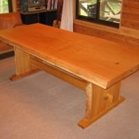 納品事例 欅一枚板ダイニングテーブル(くさび留め付き板脚タイプ)
