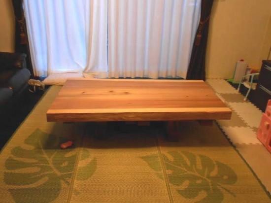 総杉造り杉一枚板座卓(テーブル・座卓兼用脚タイプ)納品事例20131127